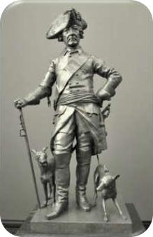 Brązowy posąg Fryderyka II z Prus (1712-1786). Był wielkim miłośnikiem Charcików Włoskich i trzymał je blisko siebie przez całe swoje życie.